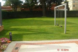 Jardín con columpio